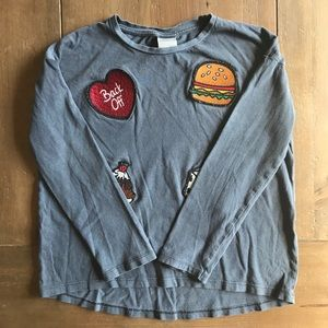 Zara grey patch long sleeve t-shirt girl 7